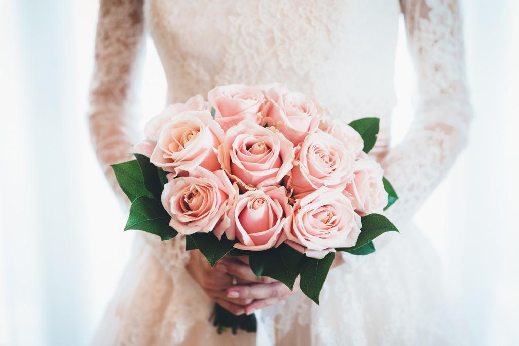 Un particolare del bouquet della sposa Irene