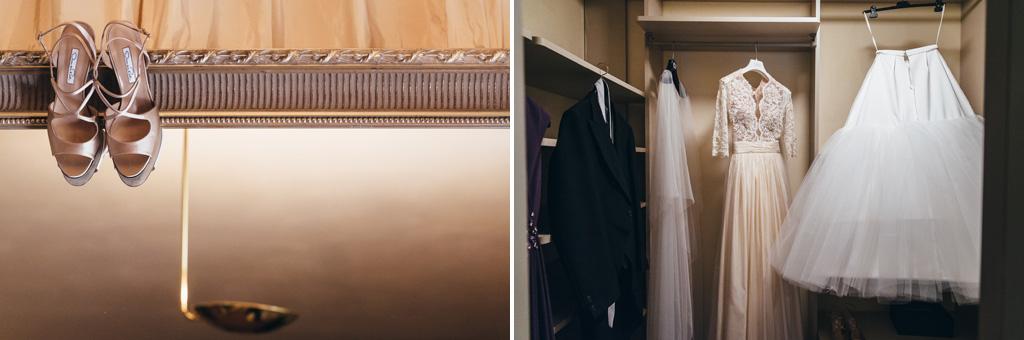 L'abito e le scarpe della sposa
