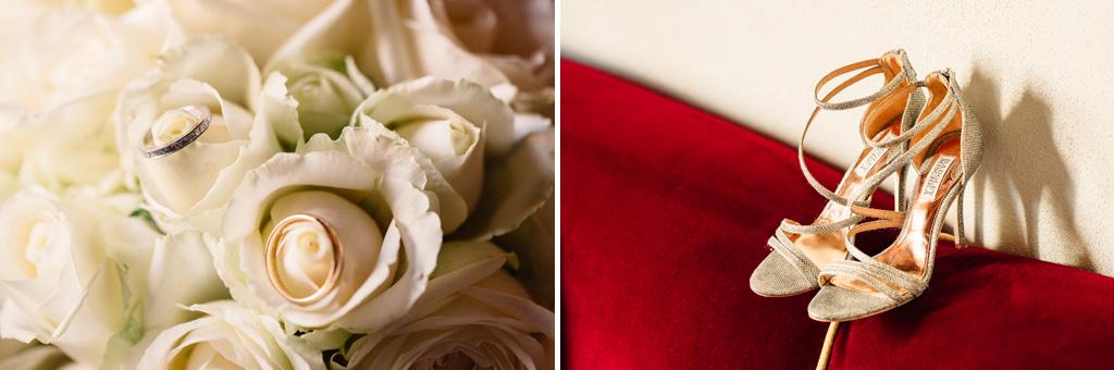 Le inquadrature del bouquet e delle scarpe di Brittney