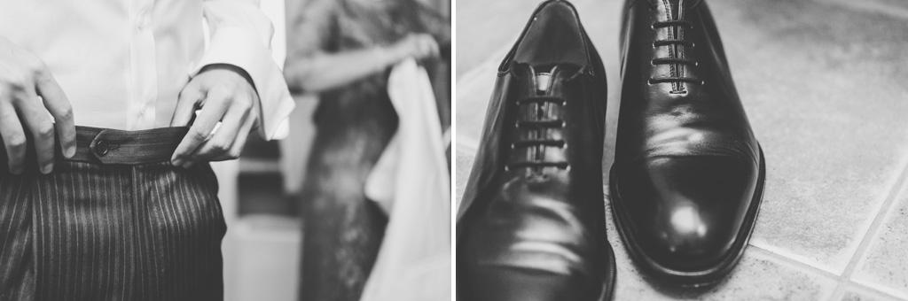 Alcuni dettagli delle scarpe e dei pantaloni dello sposo Federico