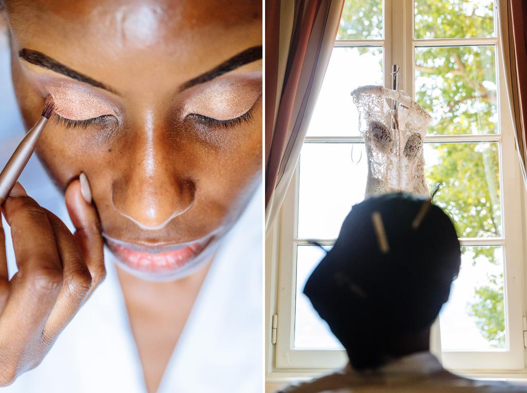 Una damigella decora il viso della sposa con l'ombretto
