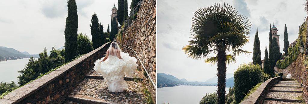 La sposa sale una incantevole scalinata che si affaccia sul Lago di Lugano