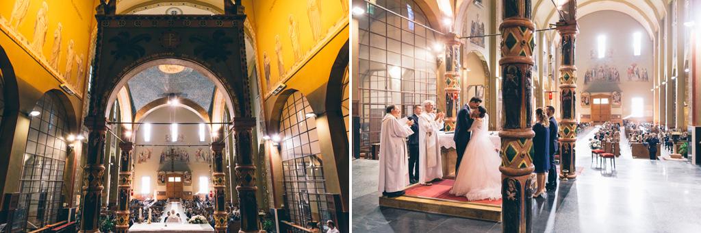 Due panoramiche della chiesa in cui si svolge la cerimonia di matrimonio