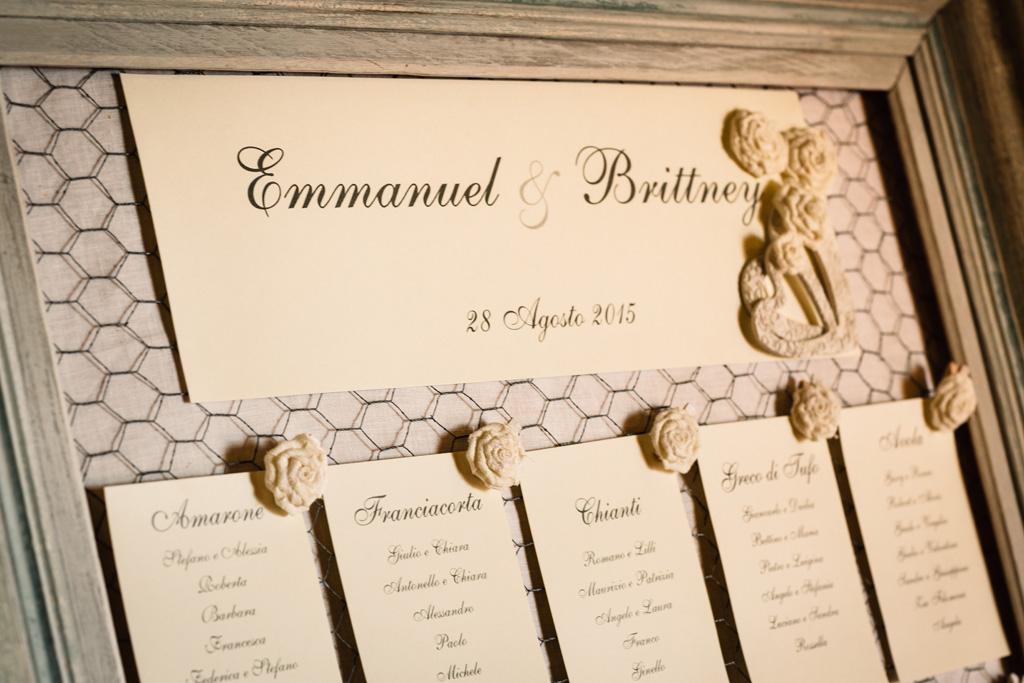 L'elenco dei partecipanti al ricevimento di Emmanuel e Brittney