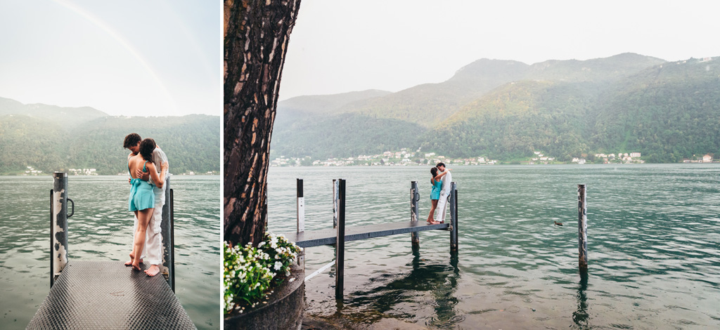 I due sposi si baciano sopra una piattaforma sul lago di Lugano