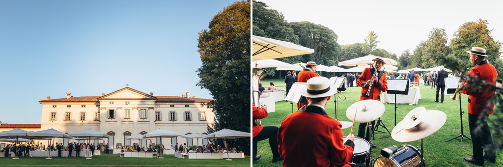 Una banda di musicisti suona nella splendida location di Villa Caroli a Stezzano