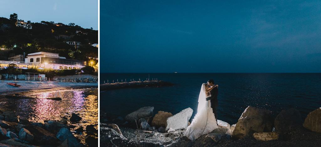 I due sposi, Giorgia e Danilo, si baciano con la cornice dello splendido paesaggio di Sanremo
