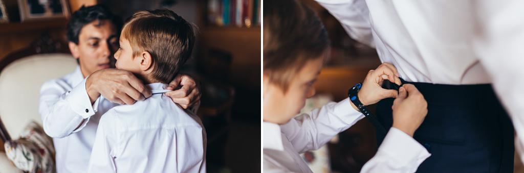 Un bambino si prepara per la cerimonia di matrimonio