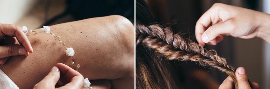 Alcuni particolari dei capelli e delle gambe della sposa