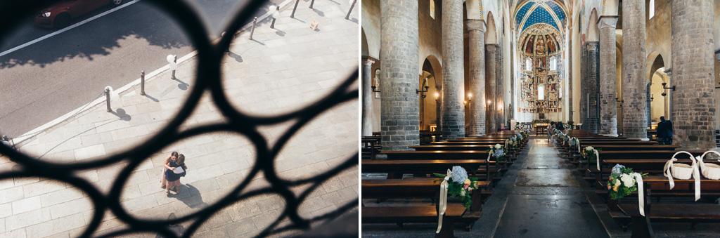 Una panoramica della navata della chiesa a Como