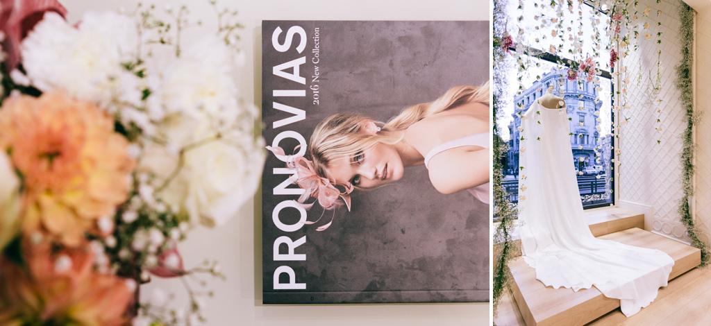 Il dettaglio di un libro che presenta gli abiti da sposa Pronovias