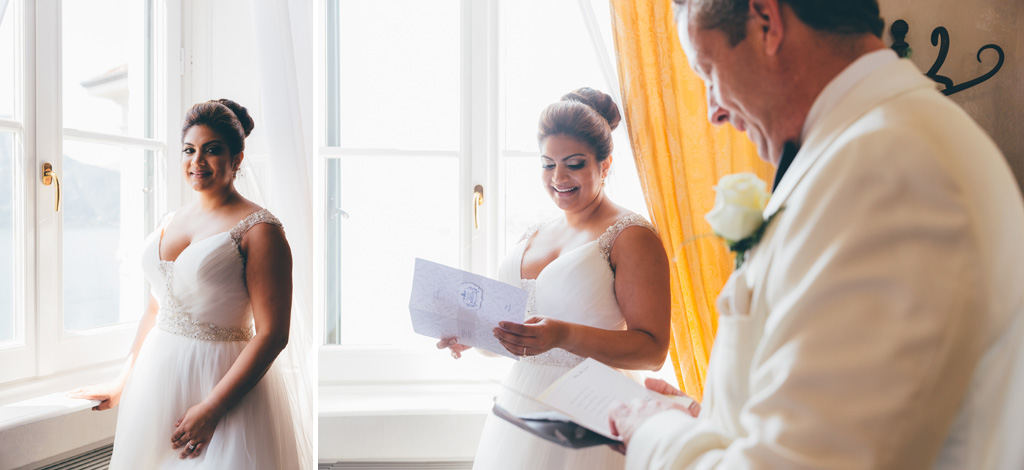 Gli sposi, William e Tara, leggono delle lettere speciali
