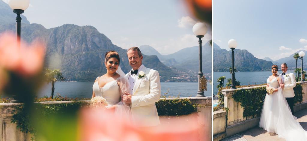 Gli sposi posano con la splendida cornice del Lago di Como