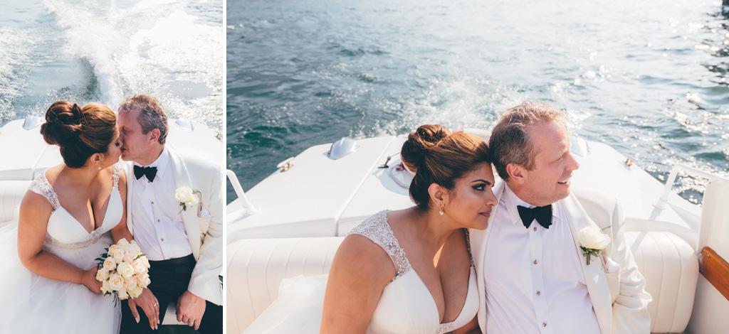 I due sposi, William e Tara, guardano l'orizzonte incantato del Lago di Como