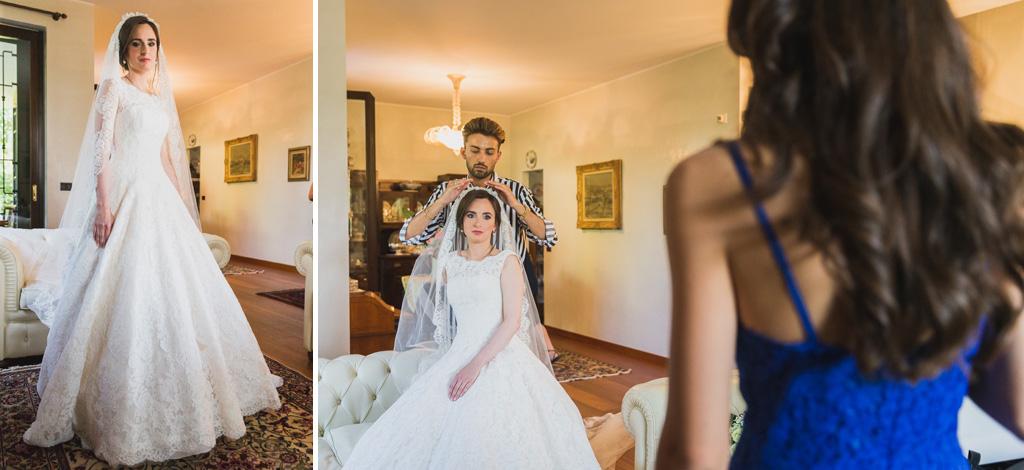 La sposa e il suo vestito da cerimonia