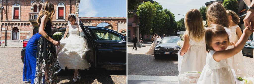 La sposa scende dalla macchina