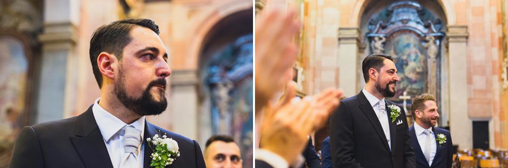 La commozione dello sposo Andrea all'arrivo della sposa