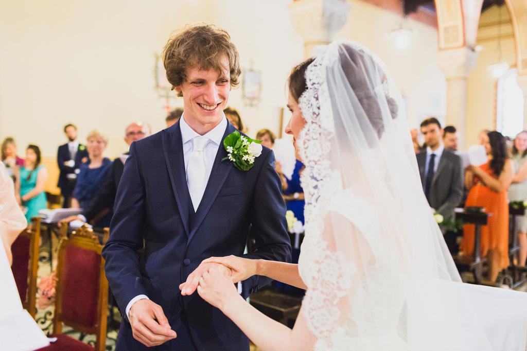 La gioia di Davide durante lo scambio delle fedi nunziali