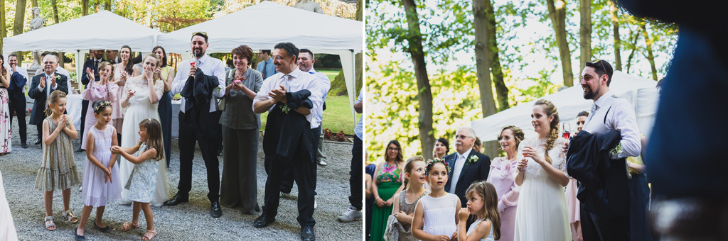 La gioia degli ospiti durante il ricevimento a Villa Gaia Gandini