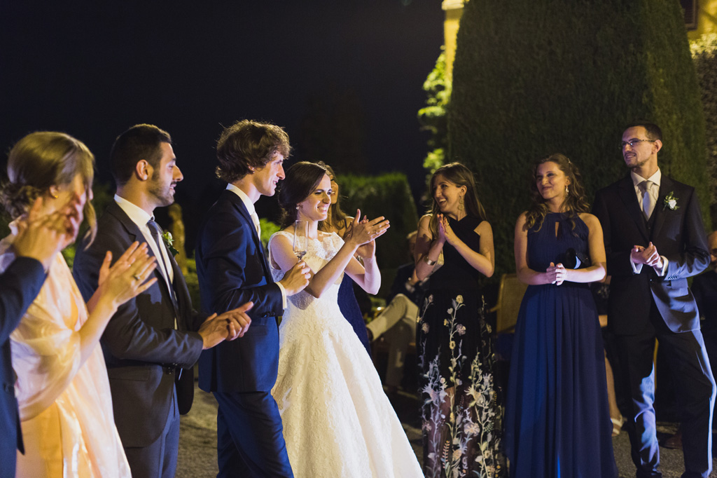 La gioia degli sposi, Davide e Eleonora, e degli invitati dopo lo spettacolo pirotecnico