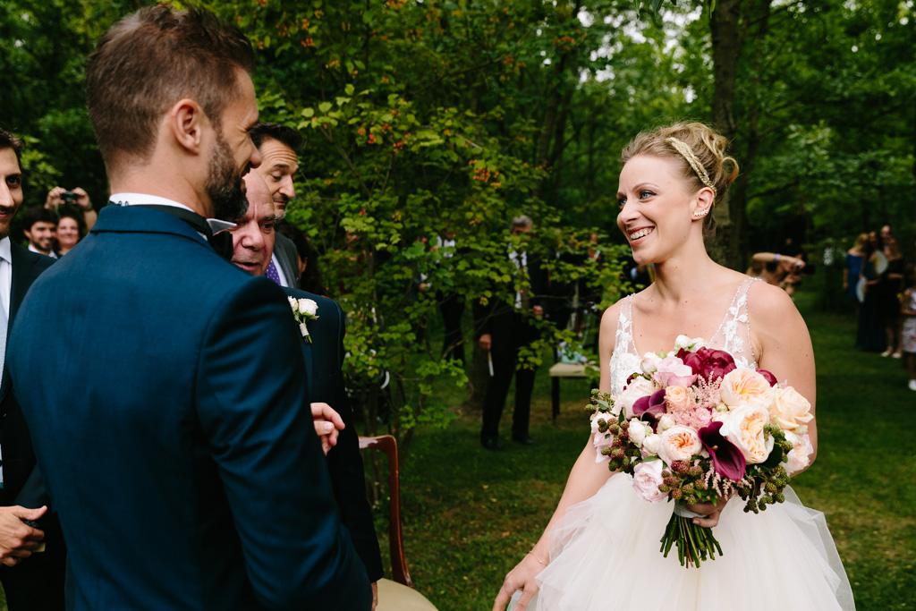 L'incontro della sposa e dello sposo alla cerimonia