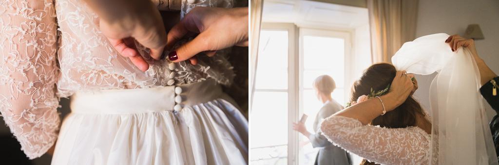 Ultimi dettagli dell'abito e del velo