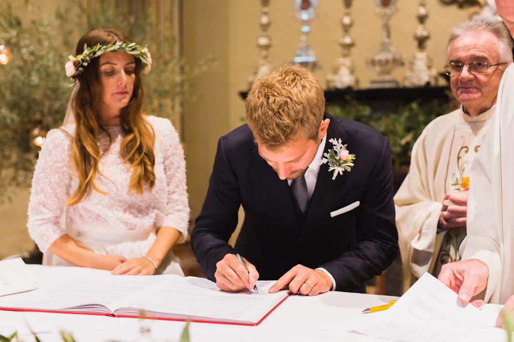 La firma dello sposo
