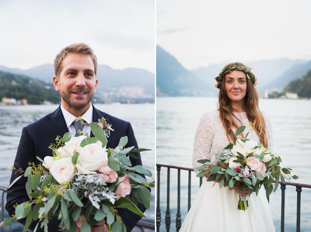 Ritratto degli sposi sul Lago di Como