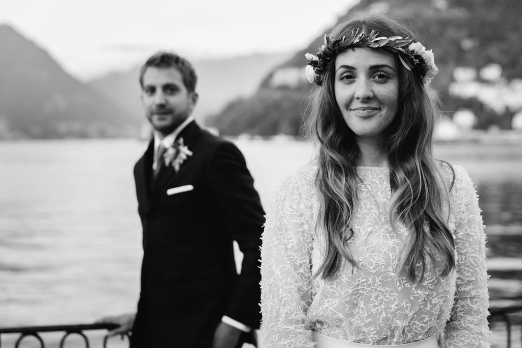Ritratto in bianco e nero degli sposi