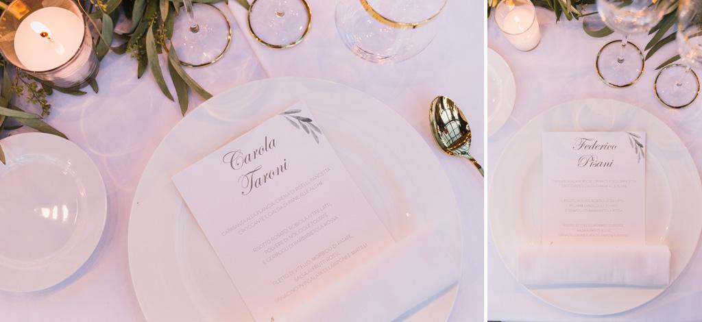 Il menù della cena di nozze a Casnate con Bernate