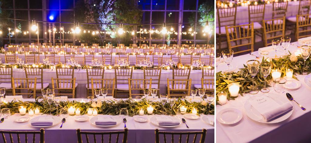 Lucine e candele a fare luce sui tavoli del ricevimento
