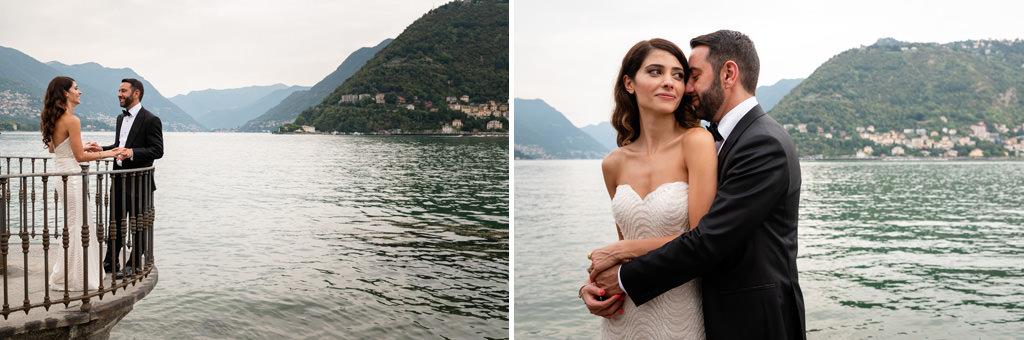 foto di coppia sul lago matrimonio shahram e samin villa parravicini revel lago di como