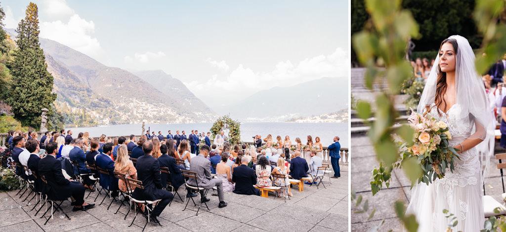 La sposa e la terrazza della cerimonia a Villa Pizzo