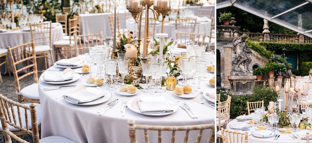 Allestimento dei tavoli a Villa Pizzo