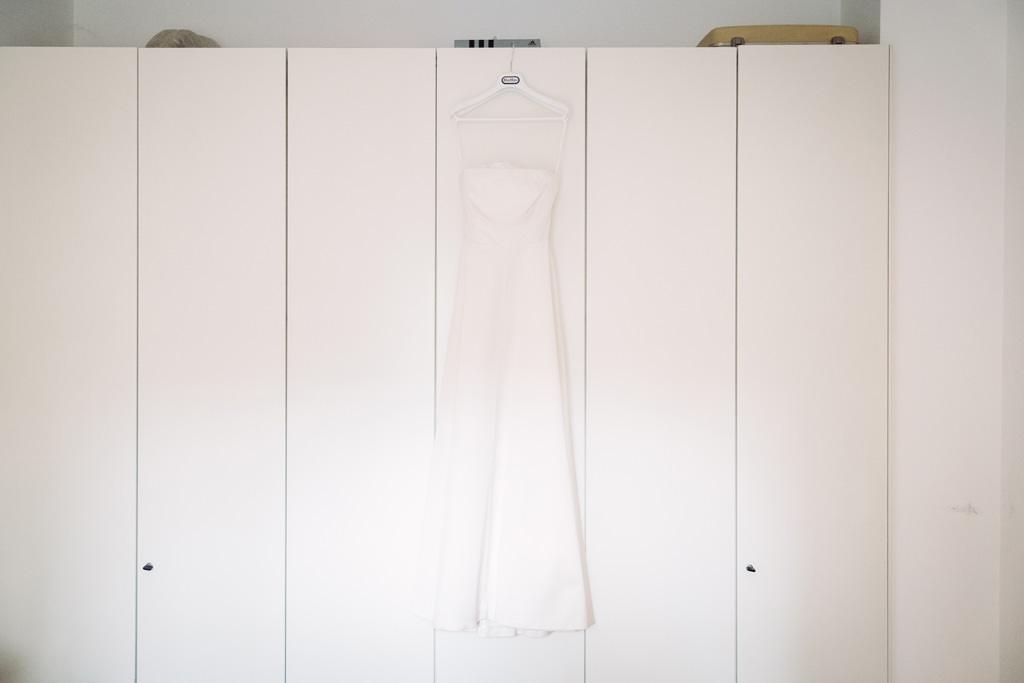 L'abito della sposa nella sua casa di Milano