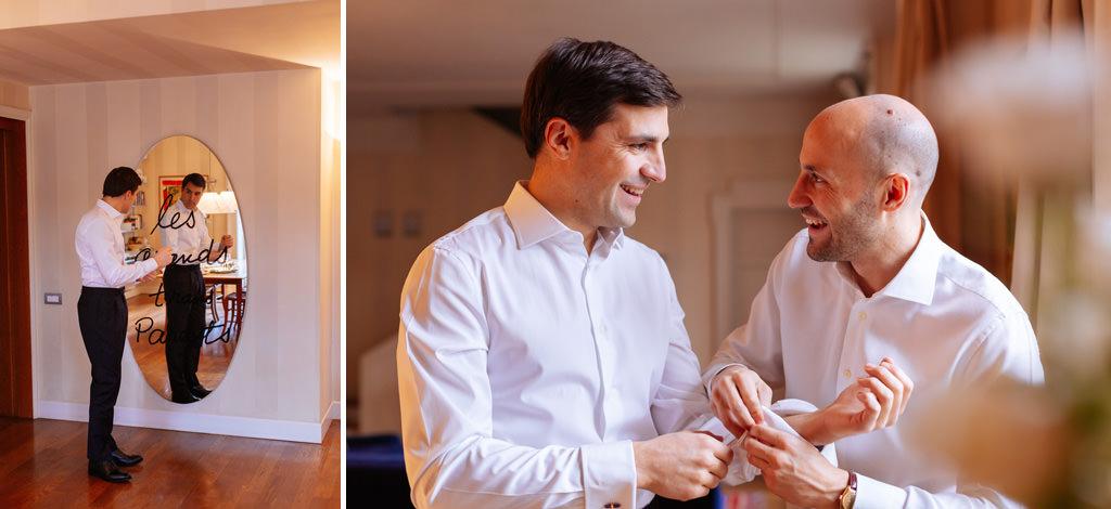 Lo sposo e il fratello in preparazione della casa di Milano