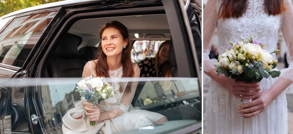 La sposa con il suo bouquet di fiori