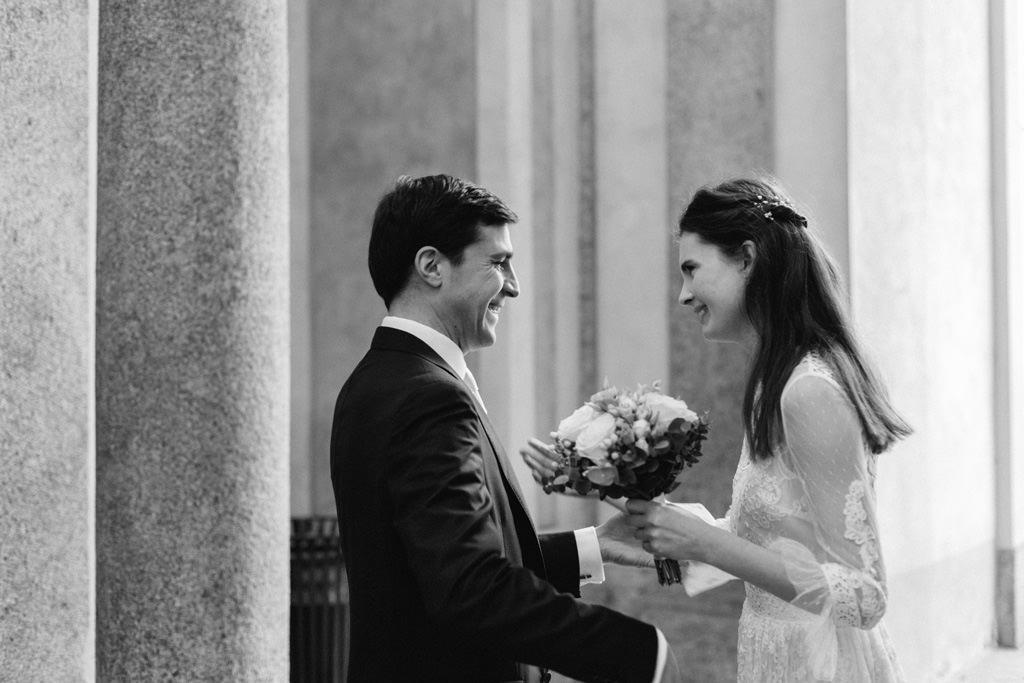 Primo incontro degli sposi a Palazzo Reale prima della cerimonia