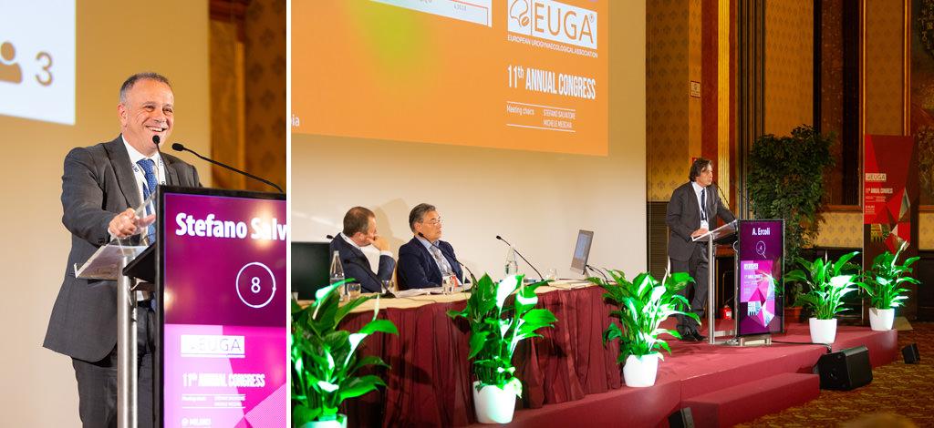 Alcuni relatori espongono i loro prodotti innovativi durante il congresso dell'EUGA