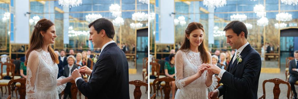 Lo scambio degli anelli di Andrea e Yulia