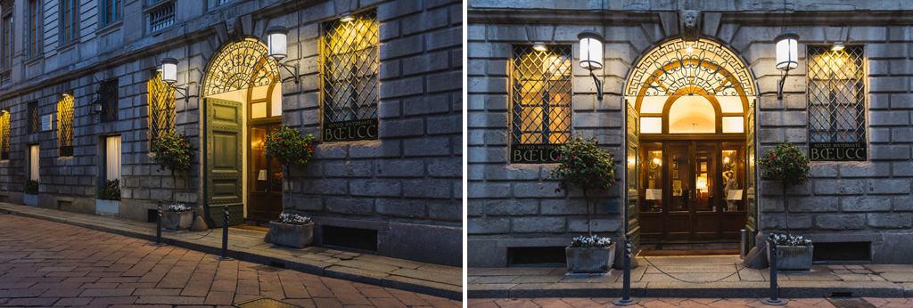 Fotografie esterne dell'antico ristorante milanese Boecc ripreso da Alessandro Della Savia