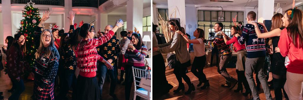 Gli invitati si scatenano in balli di gruppo ripresi da Alessandro Della Savia, fotografo di eventi per congressi