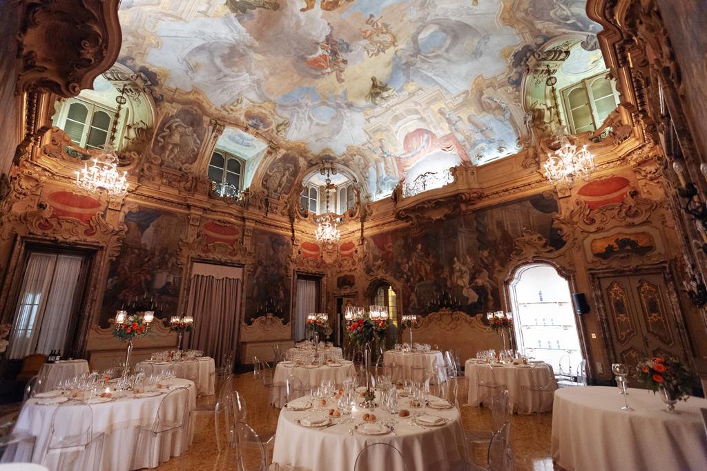 La sala di Palazzo Visconti location del ricevimento di Yulia e Andrea