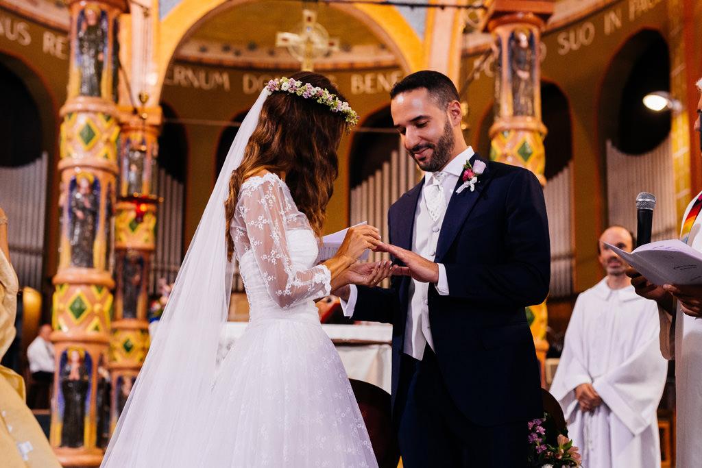 scambio delle fedi matrimonio cristina e andrea chiesa milano