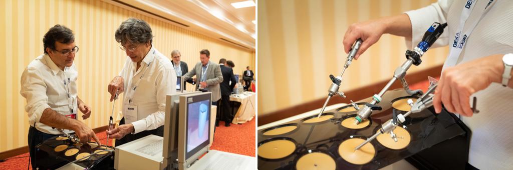 I partecipanti provano alcuni macchinari sofisticati durante l'undicesimo congresso dell'EUGA, ripresi dal fotografo di eventi Alessandro Della Savia