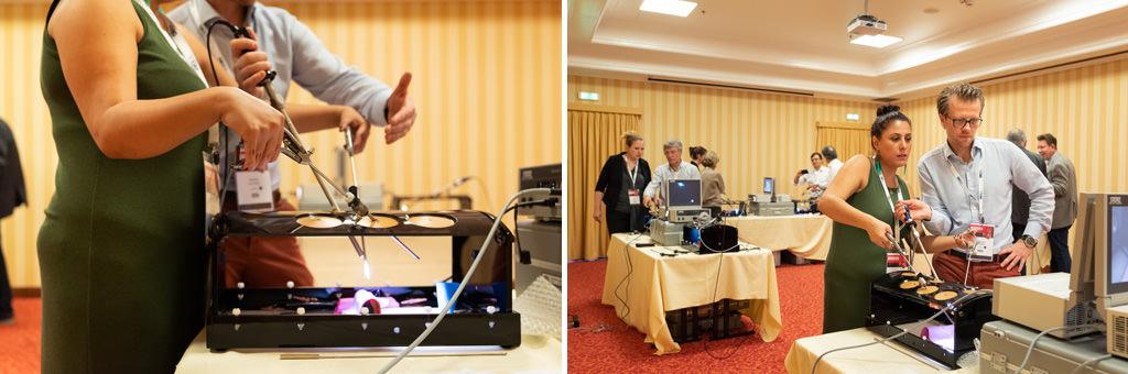I partecipanti provano alcuni macchinari sofisticati durante l'undicesimo congresso dell'EUGA