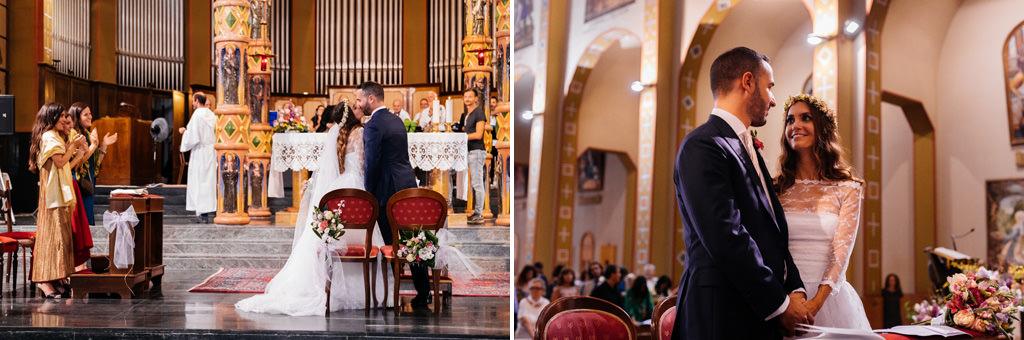 Andrea e Cristina sposi in chiesa matrimonio milano