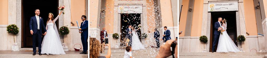 uscita dalla chiesa coriandoli matrimonio andrea e cristina milano