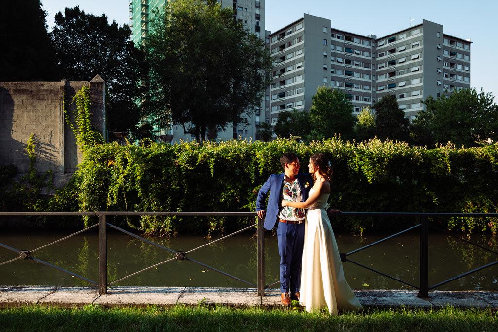 ritratto coppia naviglio - matrimonio luis e giovanna milano