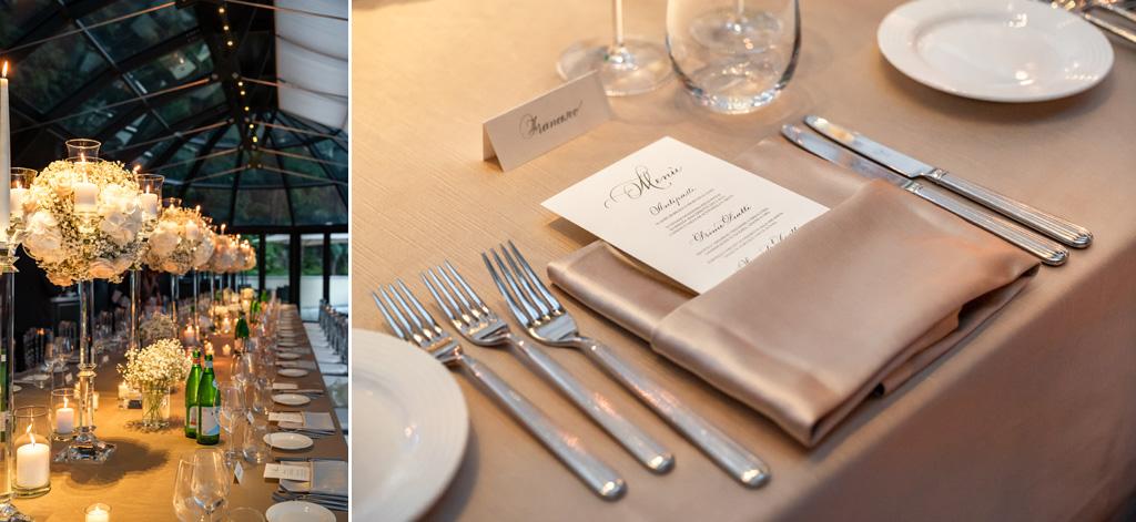 Allestimento dei tavoli nella sala del ricevimento del Mandarin Oriental di Blevio